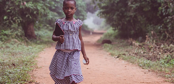 Girl on her way to school